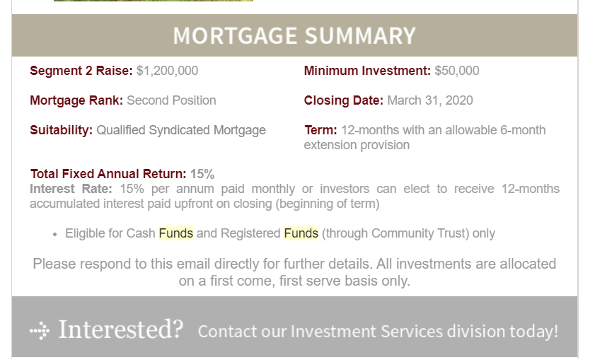 Mortgage offering example