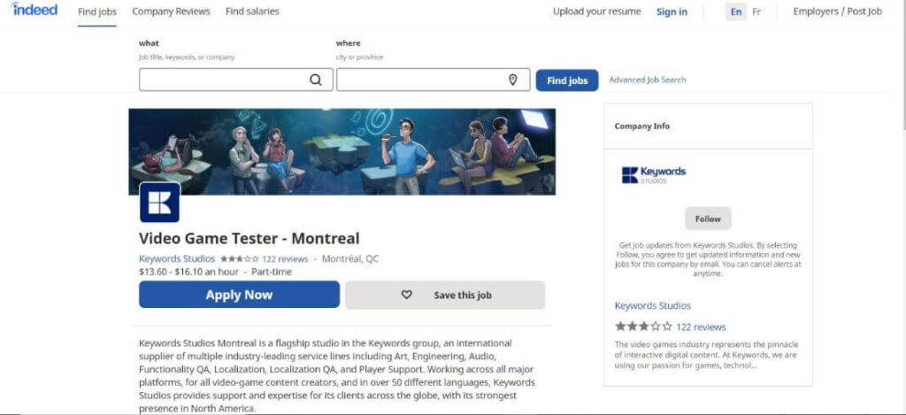 Video game tester job on indeed