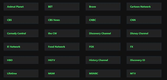 stream2watch selection of channels