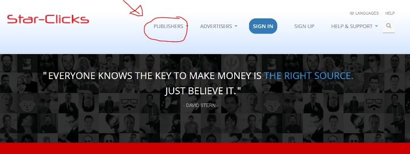 star-clicks publishers equals earners