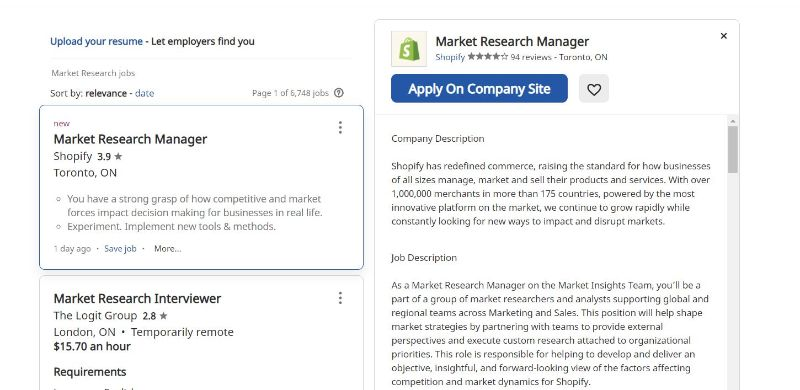Market research work from job posting that involve no pone calls