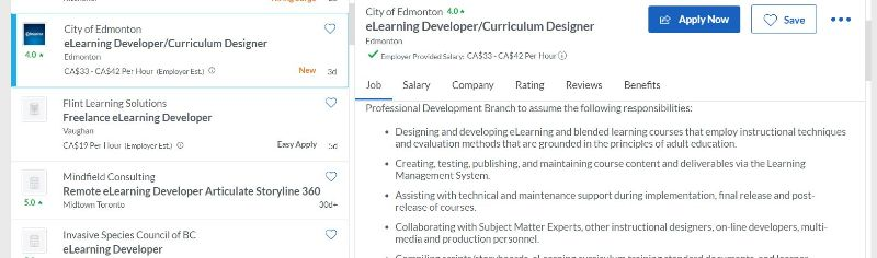 elearning content development job posting no phone required.
