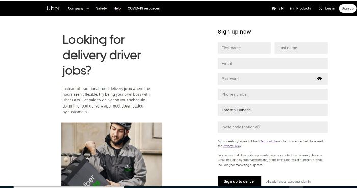 To sing up for postmates use uber eat